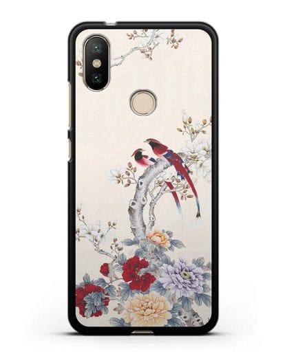 Чехол Цветы и птицы силикон черный для Xiaomi Mi 6X