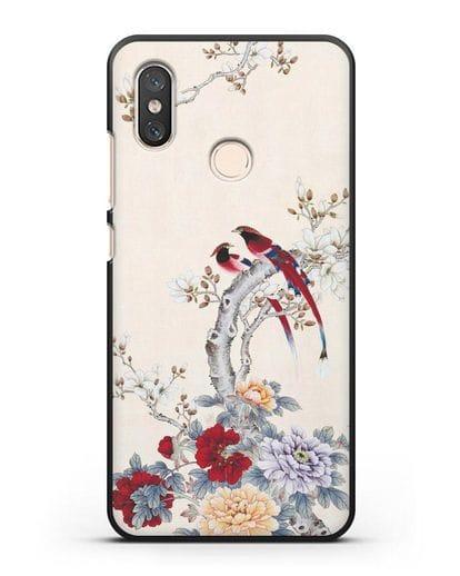 Чехол Цветы и птицы силикон черный для Xiaomi Mi 8