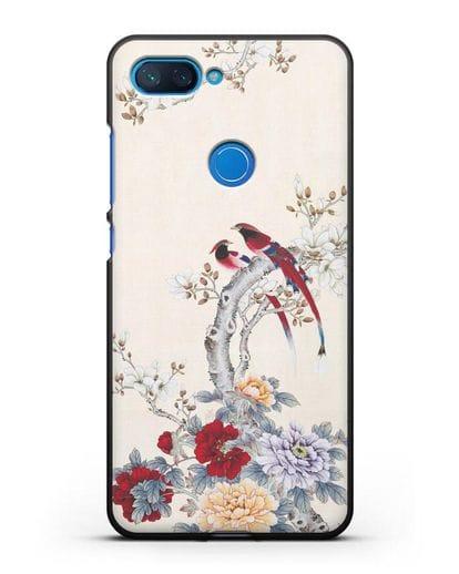 Чехол Цветы и птицы силикон черный для Xiaomi Mi 8 Lite