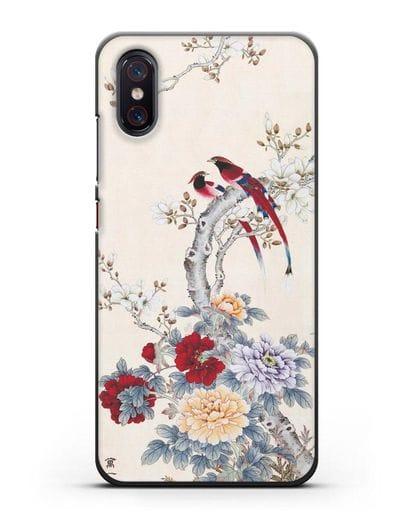 Чехол Цветы и птицы силикон черный для Xiaomi Mi 8 Pro