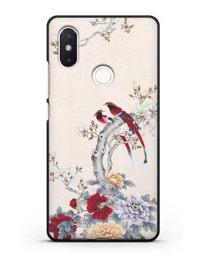 Чехол Цветы и птицы силикон черный для Xiaomi Mi 8 SE