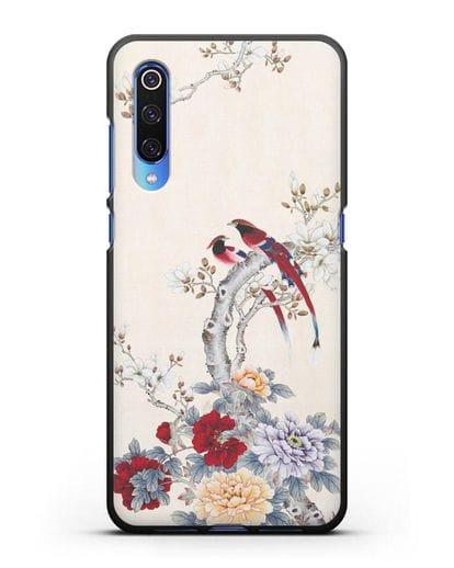 Чехол Цветы и птицы силикон черный для Xiaomi Mi 9