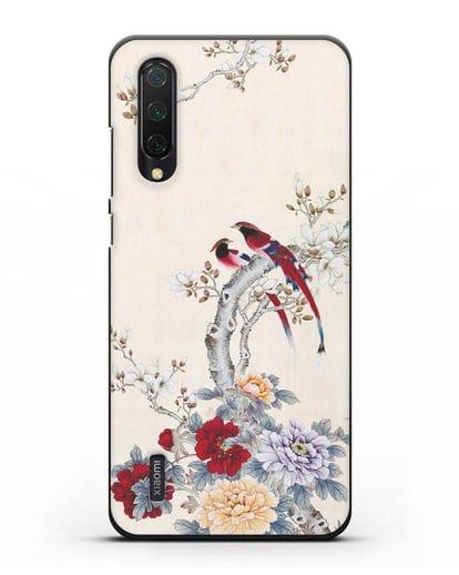 Чехол Цветы и птицы силикон черный для Xiaomi Mi 9 Lite