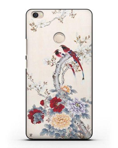 Чехол Цветы и птицы силикон черный для Xiaomi Mi Max