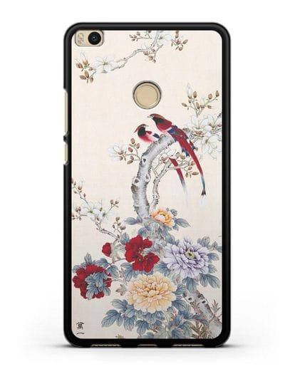 Чехол Цветы и птицы силикон черный для Xiaomi Mi Max 2