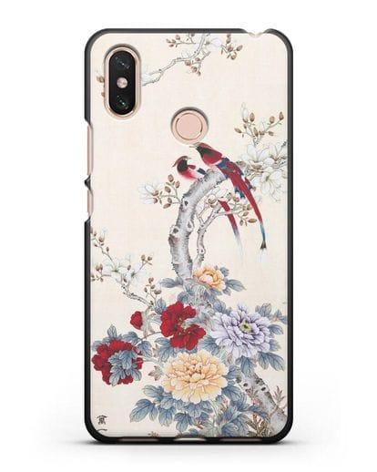 Чехол Цветы и птицы силикон черный для Xiaomi Mi Max 3
