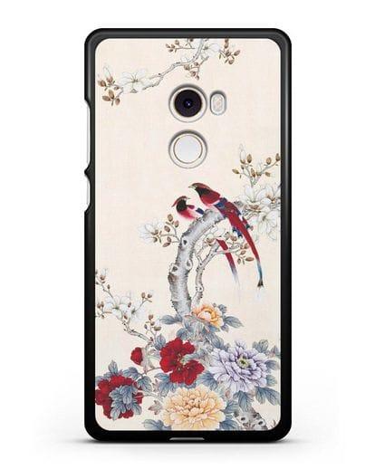 Чехол Цветы и птицы силикон черный для Xiaomi Mi Mix 2