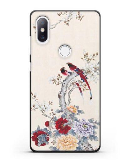 Чехол Цветы и птицы силикон черный для Xiaomi Mi Mix 2S