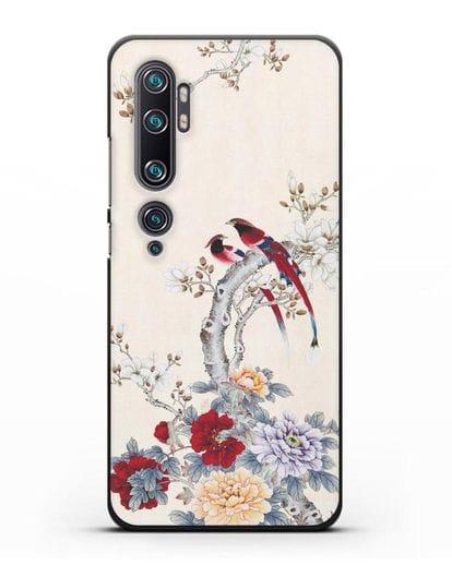 Чехол Цветы и птицы силикон черный для Xiaomi Mi Note 10