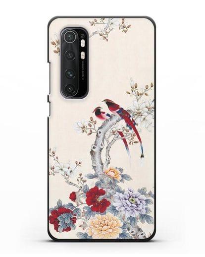 Чехол Цветы и птицы силикон черный для Xiaomi Mi Note 10 lite