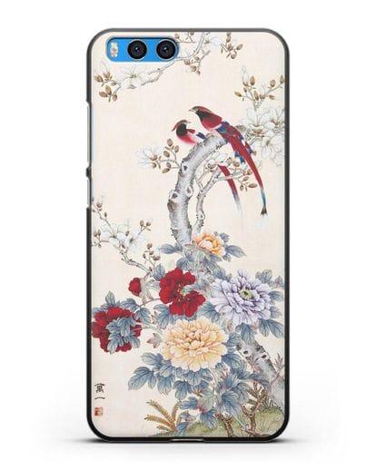 Чехол Цветы и птицы силикон черный для Xiaomi Mi Note 3