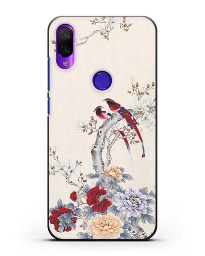 Чехол Цветы и птицы силикон черный для Xiaomi Mi Play