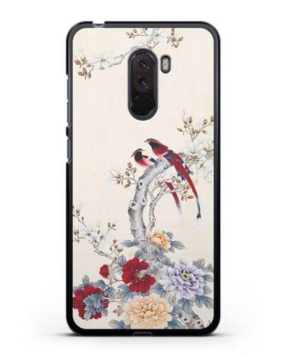 Чехол Цветы и птицы силикон черный для Xiaomi Pocophone F1