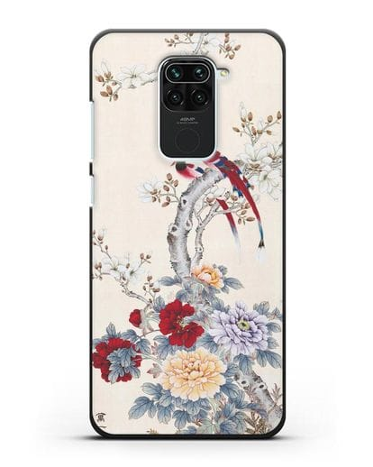 Чехол Цветы и птицы силикон черный для Xiaomi Redmi 10X