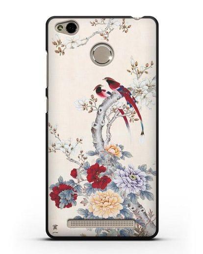 Чехол Цветы и птицы силикон черный для Xiaomi Redmi 3s