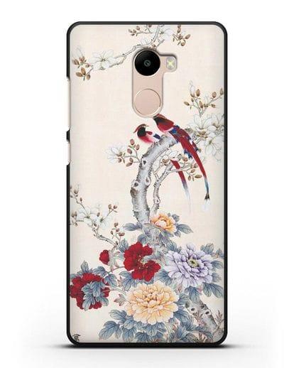Чехол Цветы и птицы силикон черный для Xiaomi Redmi 4