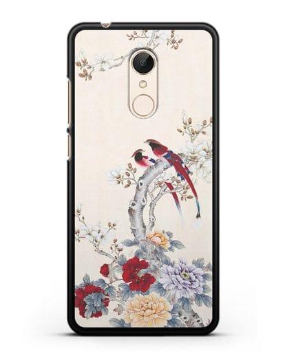 Чехол Цветы и птицы силикон черный для Xiaomi Redmi 5 Plus