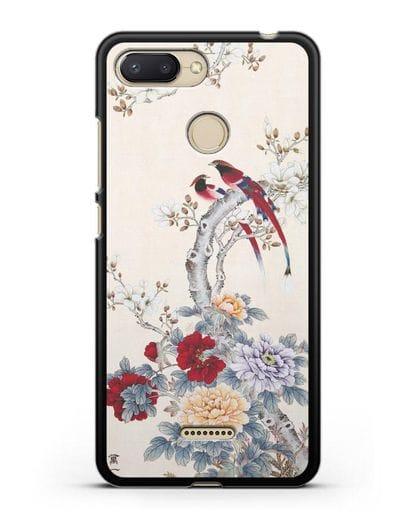 Чехол Цветы и птицы силикон черный для Xiaomi Redmi 6
