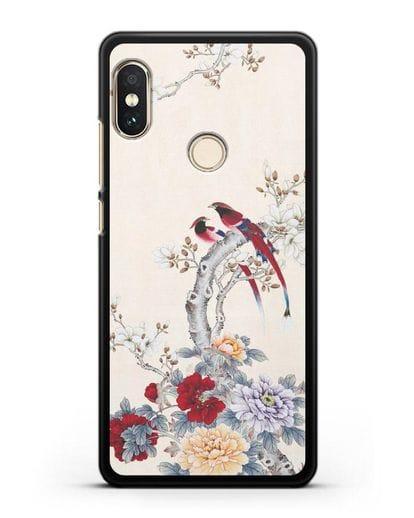 Чехол Цветы и птицы силикон черный для Xiaomi Redmi 6 Pro