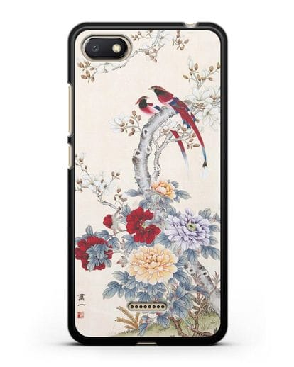 Чехол Цветы и птицы силикон черный для Xiaomi Redmi 6A