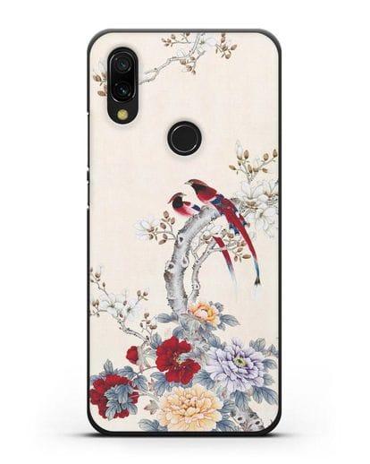 Чехол Цветы и птицы силикон черный для Xiaomi Redmi 7
