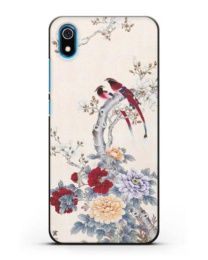 Чехол Цветы и птицы силикон черный для Xiaomi Redmi 7A