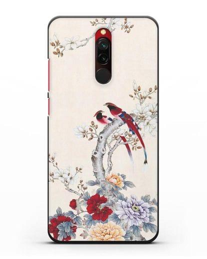 Чехол Цветы и птицы силикон черный для Xiaomi Redmi 8
