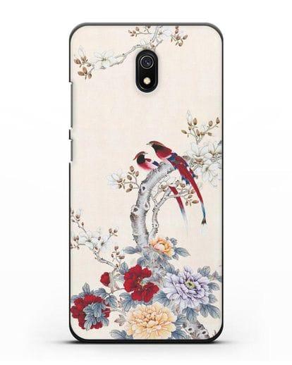 Чехол Цветы и птицы силикон черный для Xiaomi Redmi 8A