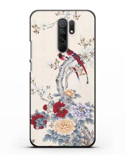 Чехол Цветы и птицы силикон черный для Xiaomi Redmi 9