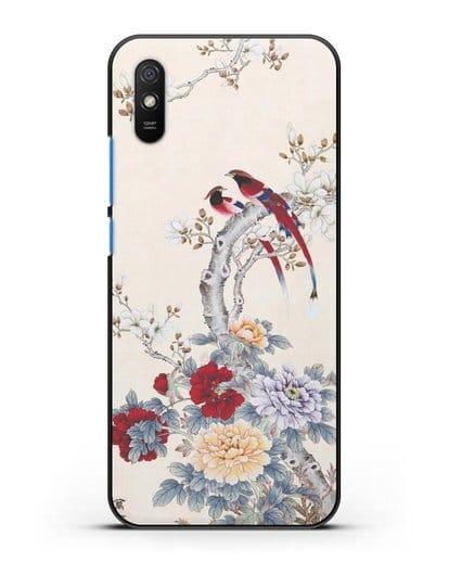Чехол Цветы и птицы силикон черный для Xiaomi Redmi 9A