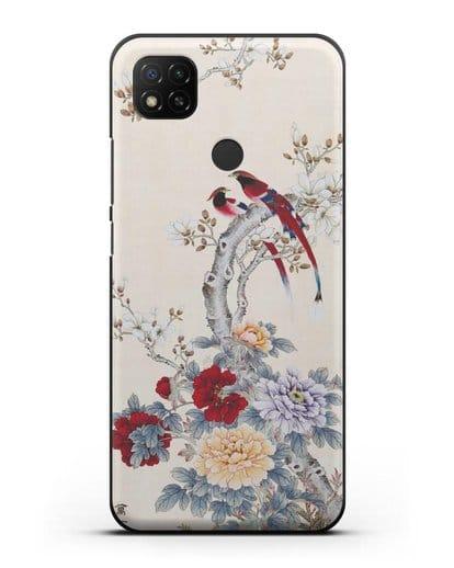 Чехол Цветы и птицы силикон черный для Xiaomi Redmi 9С