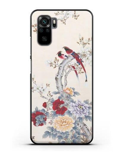 Чехол Цветы и птицы силикон черный для Xiaomi Redmi Note 10