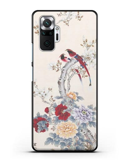 Чехол Цветы и птицы силикон черный для Xiaomi Redmi Note 10 Pro