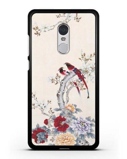 Чехол Цветы и птицы силикон черный для Xiaomi Redmi Note 4