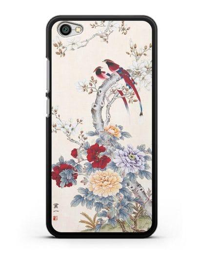 Чехол Цветы и птицы силикон черный для Xiaomi Redmi Note 5A