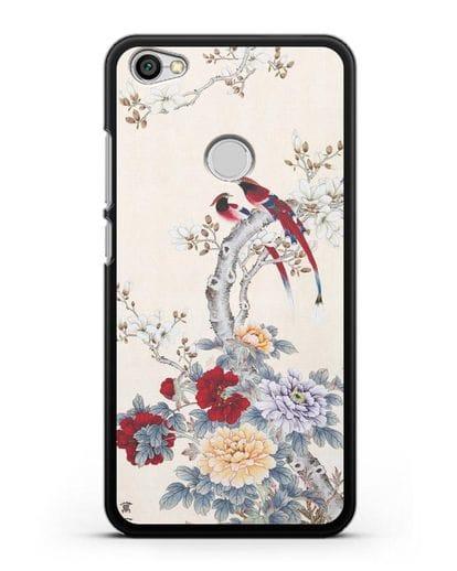 Чехол Цветы и птицы силикон черный для Xiaomi Redmi Note 5A Prime
