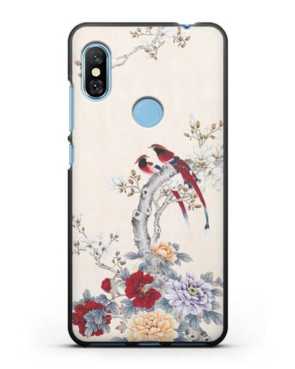 Чехол Цветы и птицы силикон черный для Xiaomi Redmi Note 6 Pro