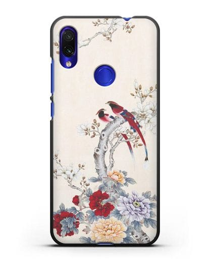 Чехол Цветы и птицы силикон черный для Xiaomi Redmi Note 7