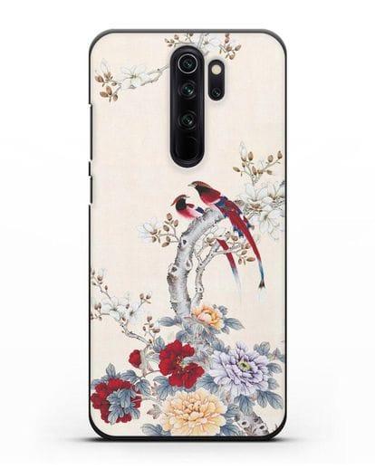 Чехол Цветы и птицы силикон черный для Xiaomi Redmi Note 8 Pro