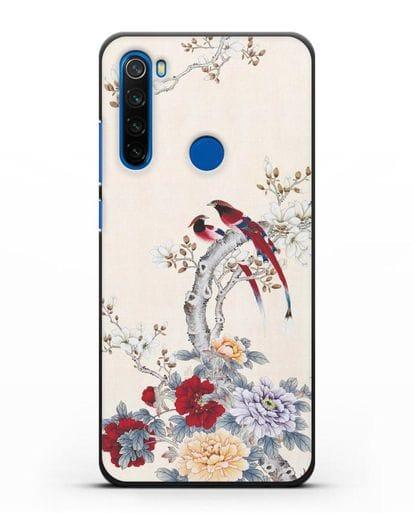 Чехол Цветы и птицы силикон черный для Xiaomi Redmi Note 8T