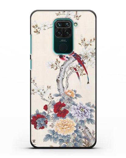 Чехол Цветы и птицы силикон черный для Xiaomi Redmi Note 9