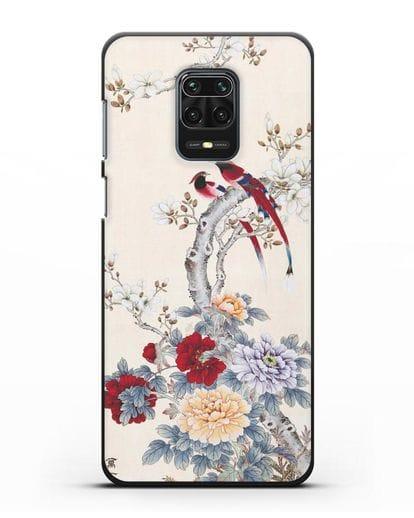Чехол Цветы и птицы силикон черный для Xiaomi Redmi Note 9 Pro