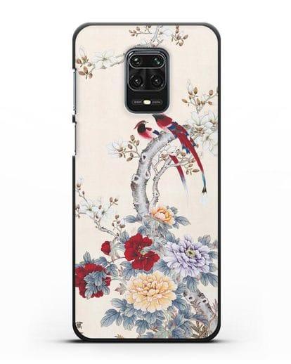 Чехол Цветы и птицы силикон черный для Xiaomi Redmi Note 9S