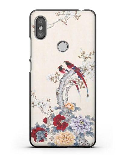 Чехол Цветы и птицы силикон черный для Xiaomi Redmi S2