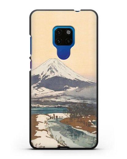 Чехол Японская живопись Фудзияма силикон черный для Huawei Mate 20