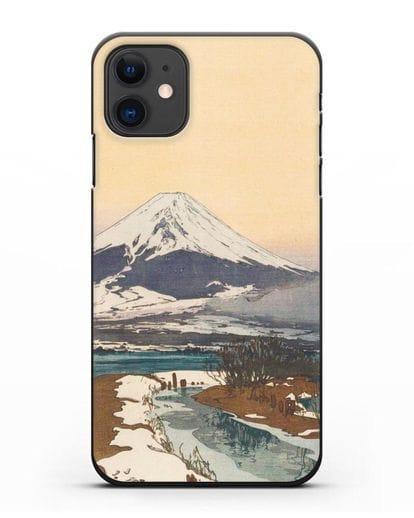 Чехол Японская живопись Фудзияма силикон черный для iPhone 11