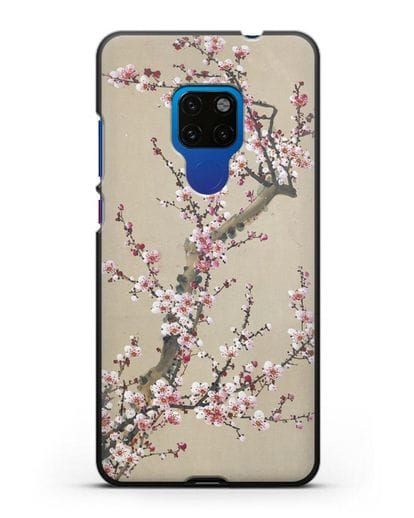 Чехол Японская сакура силикон черный для Huawei Mate 20