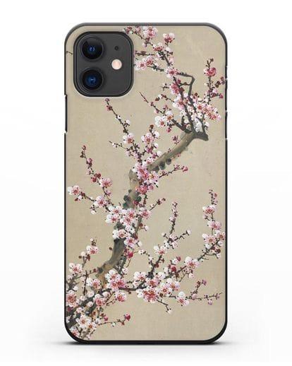 Чехол Японская сакура силикон черный для iPhone 11