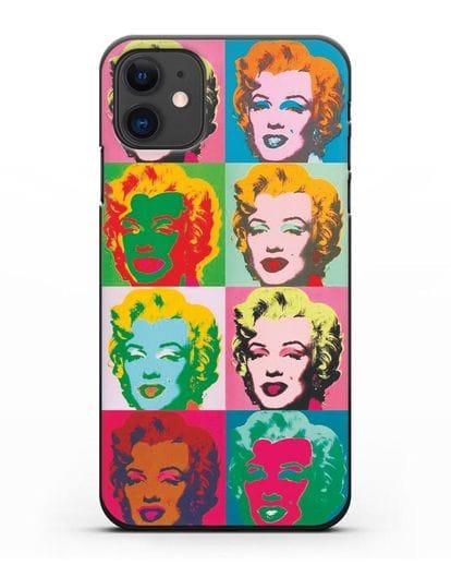 Чехол в стиле поп-арт Мэрилин Монро (Энди Уорхол) силикон черный для iPhone 11