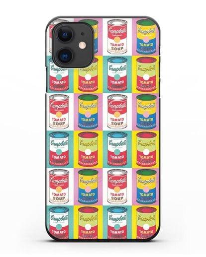 Чехол в стиле поп-арт Банки супа Кэмпбелл (Энди Уорхол) силикон черный для iPhone 11